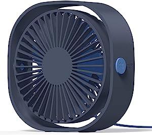 LoiStu USB Desk Fan, 4 Inch Portable Ultra-Quiet Mini Fan, 360° Up and Down, Three-Speed Wind, Suitable for Office, Family (Blue)