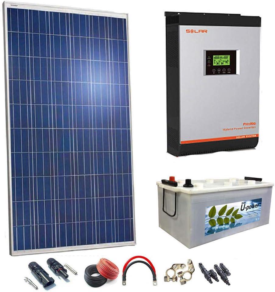 Kit Solar 24v 1000w Hora Inversor 3000va Bateria Monoblock 500Ah