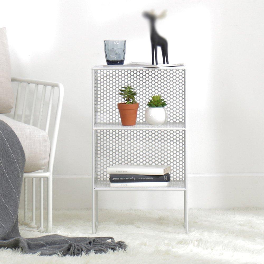 Lixingmingqi Europeantyleリビングルーム3階フロア錬鉄製棚棚ベッドサイドキャビネット寝室の棚サイズ35 * 30 * 62 cm棚 (Color : 白) B07RTT62QD 白