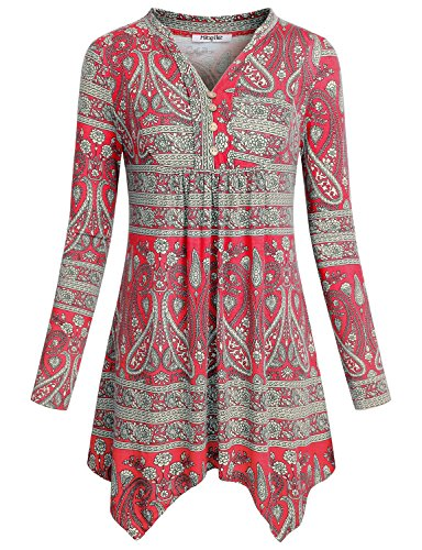 Hibelle Peplum Blouse Shirt Tops for Women, Ladies Long Sleeve Asymmetric Hemline Patterned Empire Waist Highwaist Polyester Knit Tunic for Legging Red XXL ()