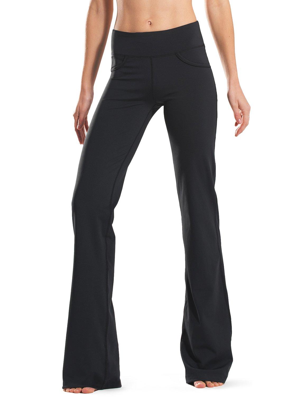"Safort (28""/30""/32""/34"" Inseam Regular/Tall Bootcut Yoga Pants, Four Pockets, Long Bootleg, Flare Pants, Black, L"