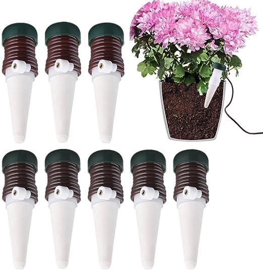 Huichang 8 Pieza Automatico Plantas De Riego Sonido Cono Sistema De Riego Para Habitaciones De Ceramica Planta Bonsai Plantas Flores Amazon Es Jardin