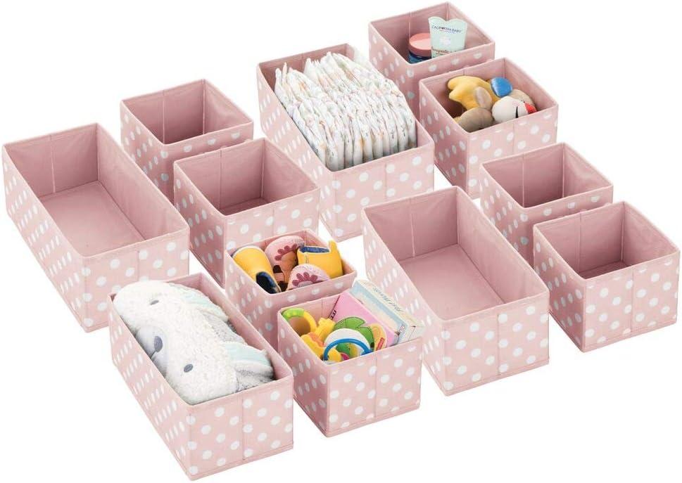 mDesign Juego de 12 Cajas de almacenaje para habitación Infantil, baño, etc. – Cestas organizadoras de Lunares – 12 organizadores de armarios de Fibra sintética en Dos tamaños – Rosa/Blanco