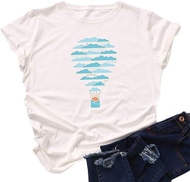 Camiseta Mujer Tallas Grandes Camiseta Basica Manga Corta Camisetas Estampadas Camiseta Deporte Running Cuello Redondo Casual Blusas Informales Tops Para Ninas Amazon Es Ropa Y Accesorios