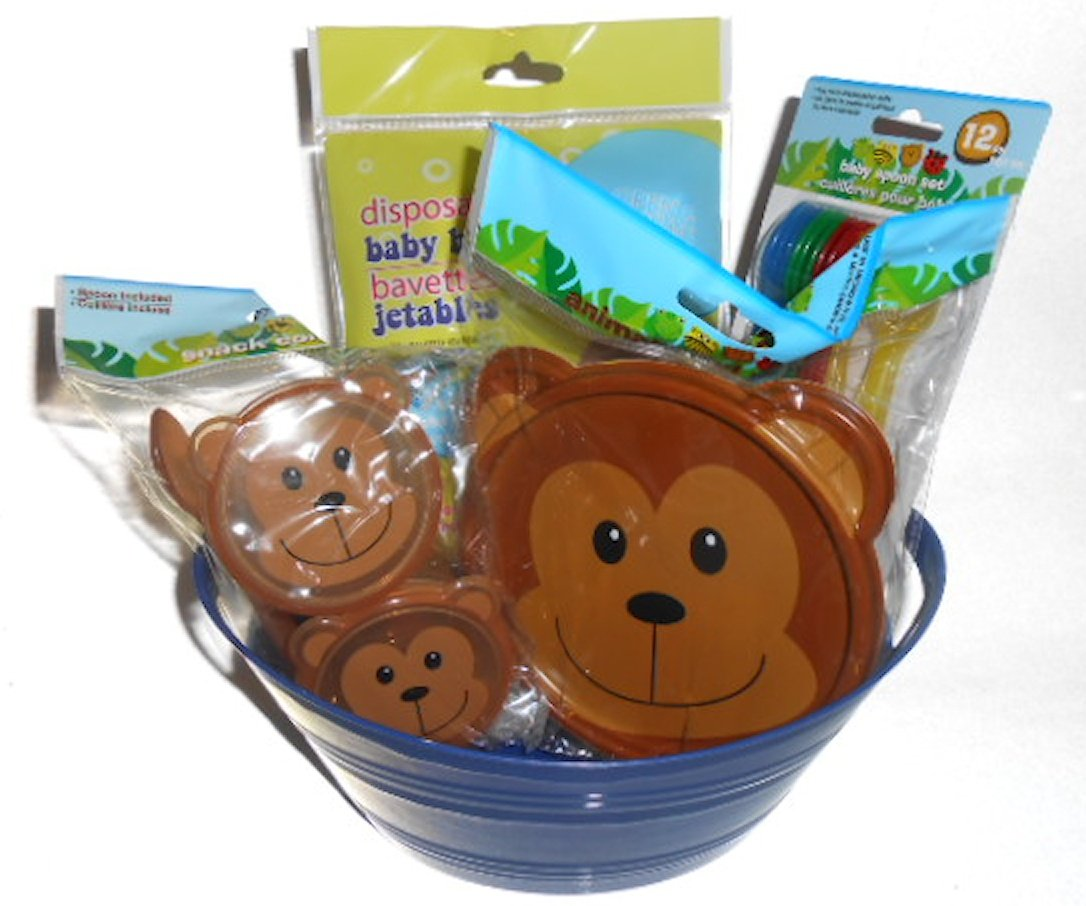 Bear Baby Feeding Gift Set. Covered Bowl, 2 Covered Containers, 12 Feeding Spoons, 6 Pack of Disposible Bibs, All in a Little Blue Tub Container Greenbrier