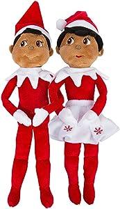 Elf on The Shelf: Christmas Plushee Pals Bundle Dark Skin Brown Eyed Boy and Girl (1) (1)