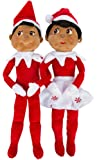 Elf on the Shelf: Christmas Plushee Pals Bundle Dark Skin Brown Eyed Boy and Girl