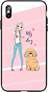 Okteq Case for iphone XS Max Shock Absorbing PC TPU Full Body Drop Protection Cover matte printed - my dog pink By Okteq