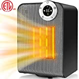 Space Heater, Portable Electric Ceramic Heaters for Office, Quiet Personal Heaters Under Desk, 1000/1500W Oscillating Floor Heater with Digital Thermostat,Tip-over&Overheating Protection for Home,Room For Sale