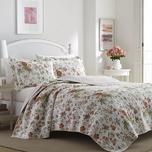 Laura Ashley 221084 Floral Quilt Set, Twin, Breezy Coral