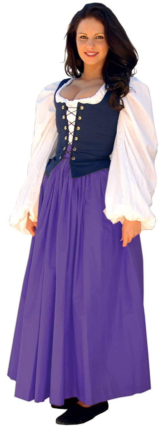 Renaissance Gathered Soft Cotton Eggplant Skirt by Sofi's Stitches - DeluxeAdultCostumes.com