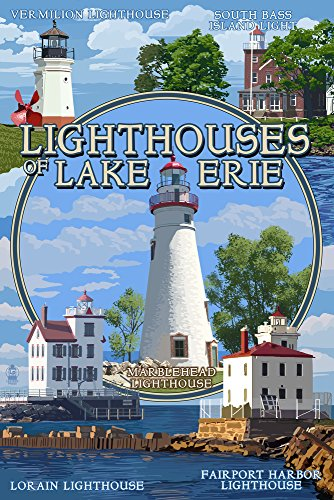 Ohio - The Lighthouses of Lake Erie (24x36 Fine Art Giclee Gallery Print, Home Wall Decor Artwork Poster)