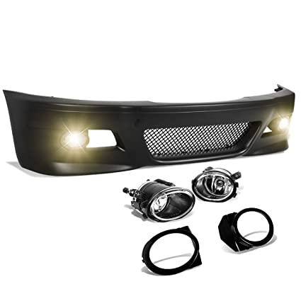 For Bmw E46 3 Series Unpainted Abs M3 Style Front Bumper Mesh Grille Fog Light