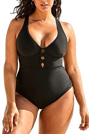 d8dea388c91 Women s Black Sexy Plus Size Rosa Floral Print One Piece Swimsuit ...