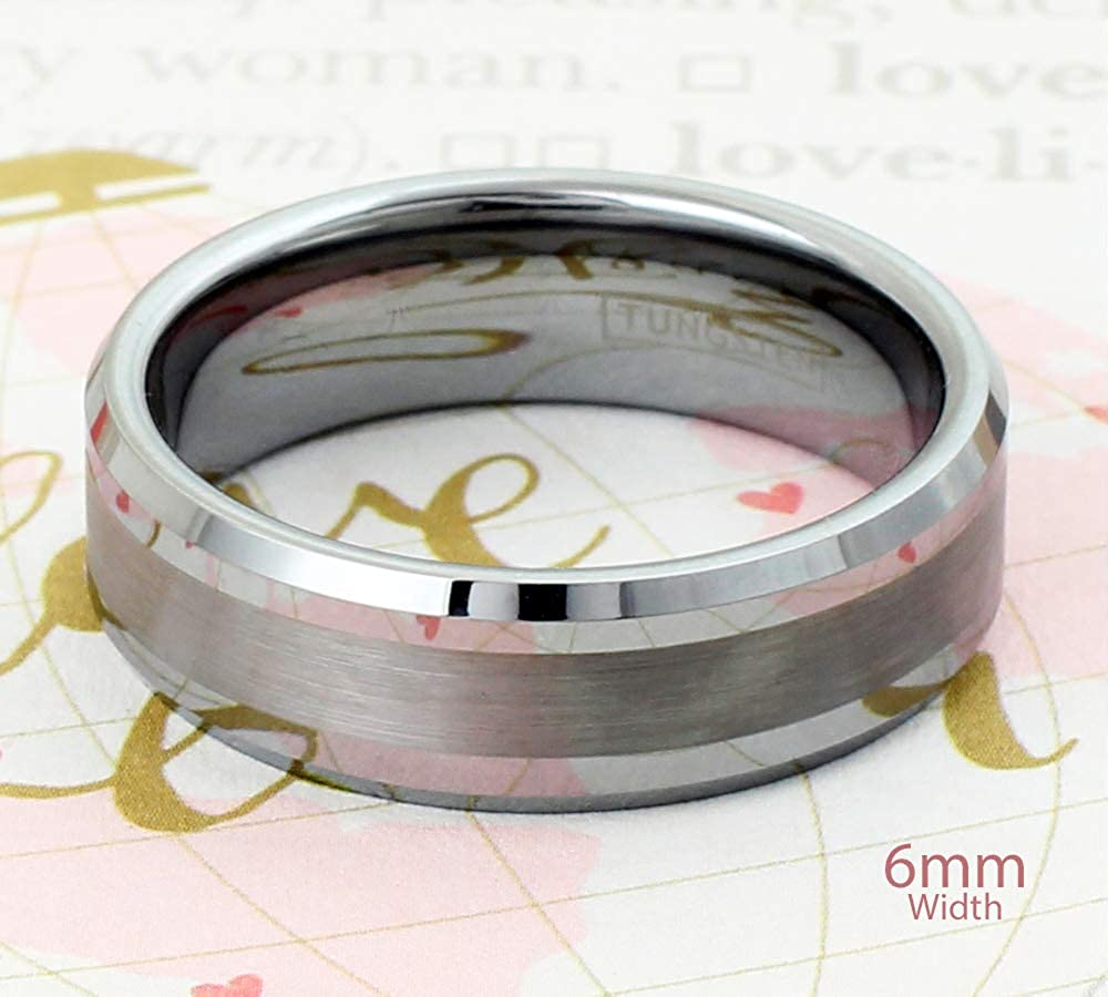 Brushed Finish Band /& Beveled Edges feat Personalized Engraved 6mm//8mm Silver Tungsten Carbide Band Ring with Half Comfort Fit Inner Band. 1//2