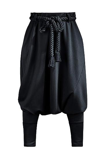 b1732d068f32 Amazon.com  ByTheR Mens Loose Avant Garde Black Aladin Harem Baggy Pants  with Rope Belt  Clothing