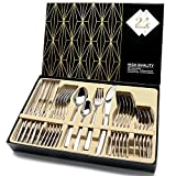 Cutlery Set, HOBO 24 Piece Stainless Steel Flatware Set, High-grade Mirror Polishing Dinnerware Sets, Multipurpose Use for Home, Restaurant Tableware Utensil Sets with Gift Box Service for 6