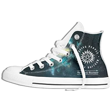 23e0abb13 Amazon.com  Supernatural Saving People Hunting Things High Top Classic  Casual Canvas Fashion Shoes Sneakers For Women   Men  Clothing