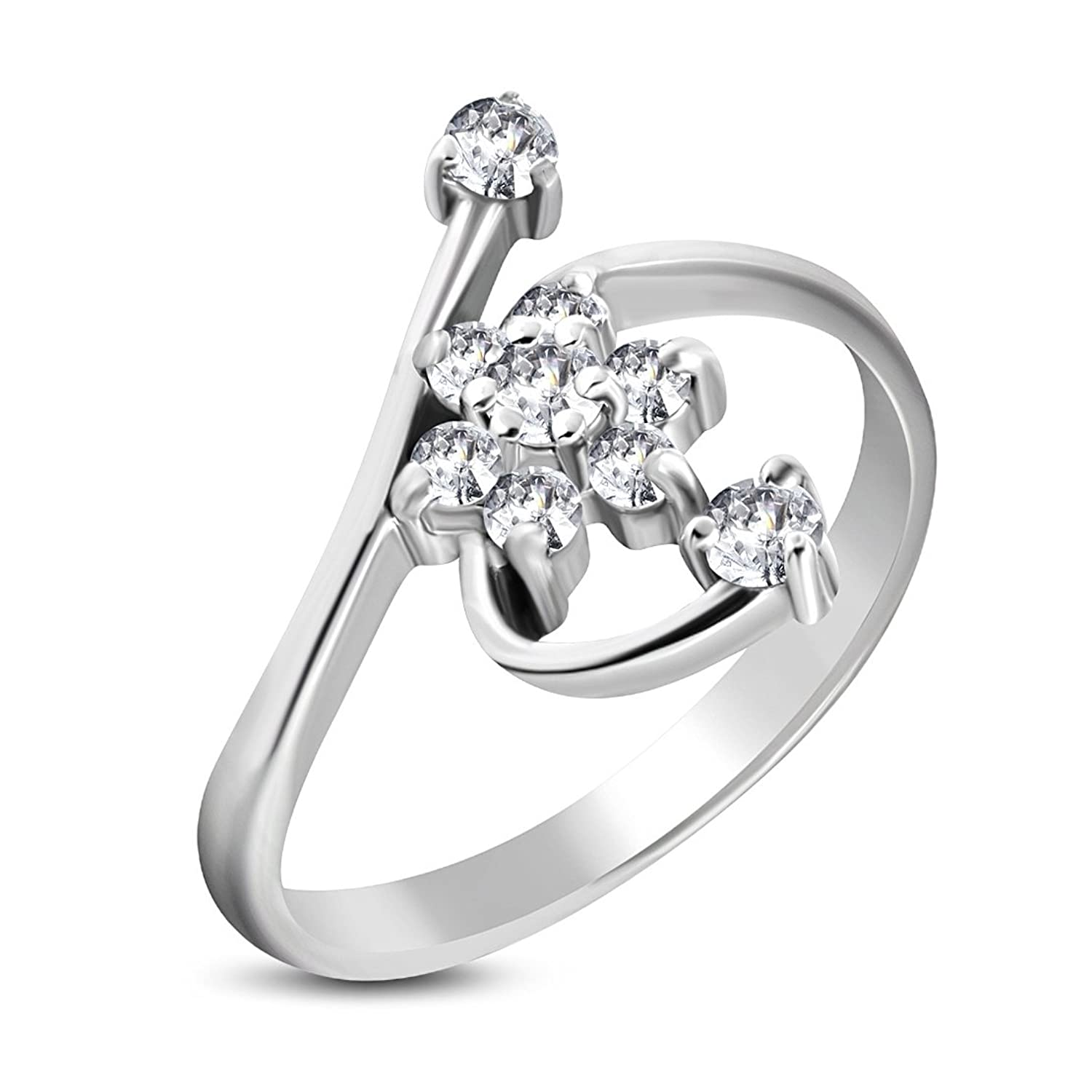 NRG Rings Stainless Steel Gold Color Plated Prong-Set Round Sirena Bypass Fancy Ring with Clear CZ