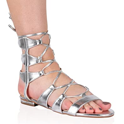 f00c323fcb0 Womens Gladiator Flat Lace Up Sandals Silver Faux Leather PU 5 ...