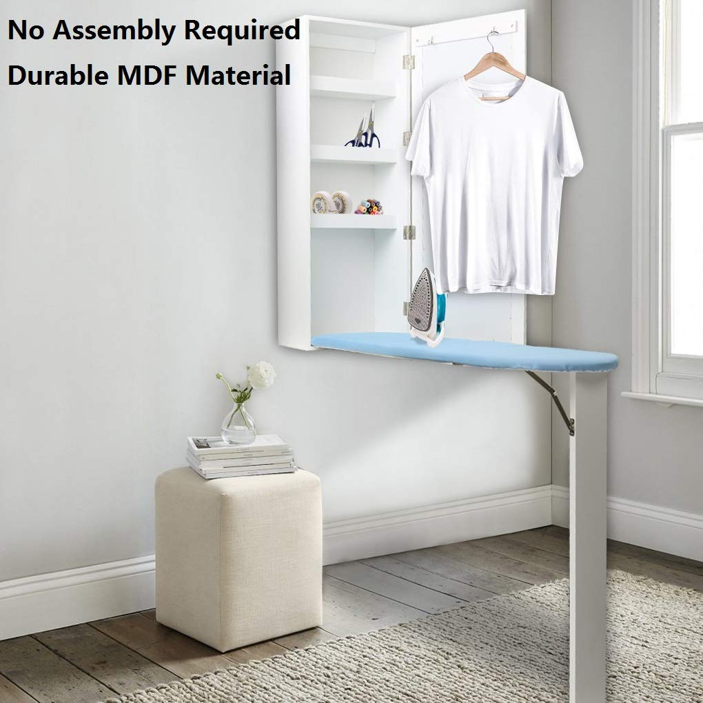 Tinkin Light Ironing Board Cabinet Wall Mounted with Built in Ironing Board Storage Cabinet Foldable with Mirror/Hideaway Ironing Boards Slim Line(US Stock) TopFire