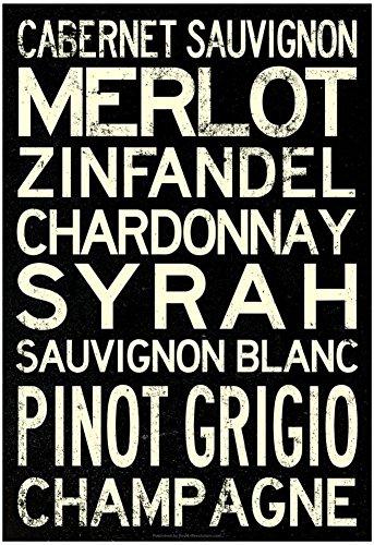 Wine Grape Types Art Print Poster with Hanger