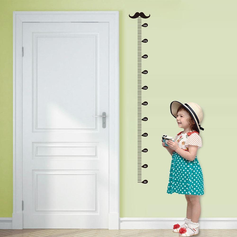 Minimum scale: 60cm; Max:180cm BIBITIME Underwater World Height Chart 3 Dolphins Algae Coral Turtle Fish Bubbles Wall Decal Sticker for Nursery Growth Charts Children Kids Room Decor Art Mural
