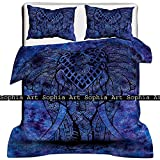 Sophia Art Indian Handmade Tye Dye Elephant Bohemain Mandala Doona Duvet Cover Boho Dona Duvet Set with Pilow Cover