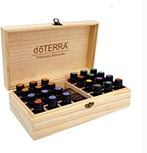 ZYCherishve Essential Oils Storage Box,Jewelry Organizer Wooden Box with lid Storage Box Container 25 Grids Large Capacity Essential Oil Storage Box Aromatherapy Gift Box for Carrying Home Display