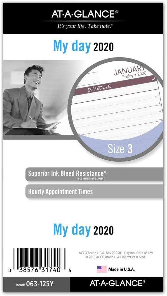 "AT-A-GLANCE 2020 Daily Planner Refill, Day Runner, 3-3/4"" x 6-3/4"", Portable Size 3, Loose Leaf (063-125Y)"
