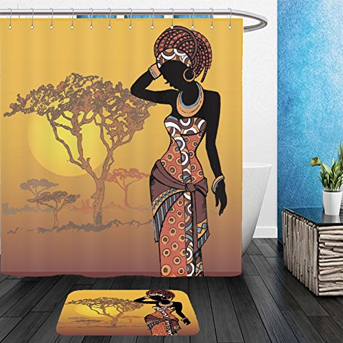 Vanfan Bathroom 2 Suits 1 Shower Curtains & 1 Floor Mats hand drawn illustration beautiful black woman african woman 147028367 From Bath (Target Halloween Hand Towels)