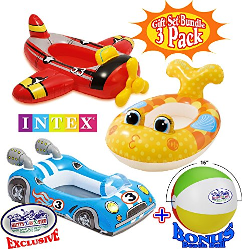 Inflatable Car - Inflatable Boat Pool Cruisers Airplane, Race Car & Fish Gift Set Bundle with Bonus
