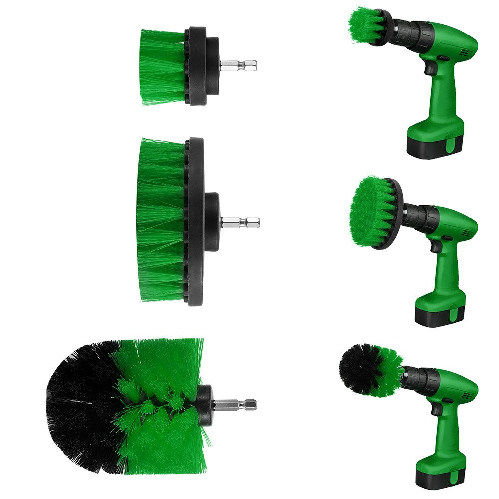 Funic Brush Electric Drill Brush Grout Power Scrubber Cleaning Brush Tub Cleaner Tool 3-PC Green Set
