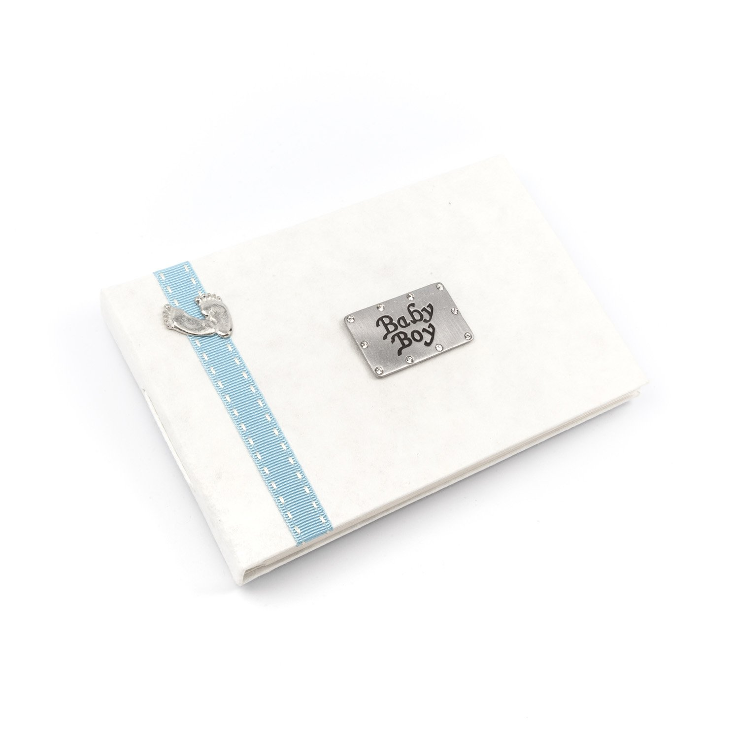 Baby Boy - photo album with pewter footprint design and blue stitched ribbon Metal Planet Baby Boy ribbon/feet album