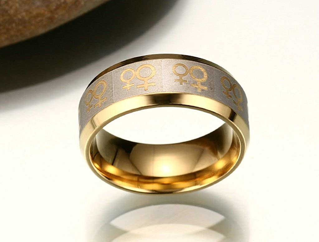 Tianyi Stainless Steel IP Gold Beveled Band Ring 8mm