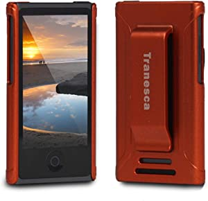 Tranesca Ultra Slim Protective Case for iPod Nano 7&8th Generation with Premium Tempered Glass Screen Protector.(Coral Red)