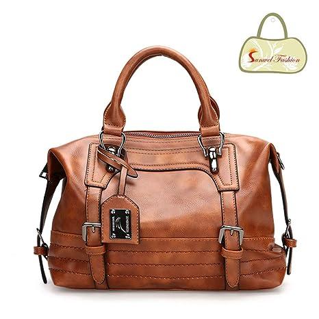 Amazon.com  Sunwel Fashion Vintage Women Tote Bags PU Leather Handbags Top  Handle Purse Crossbody Shoulder Bag (Brown)  Garden   Outdoor