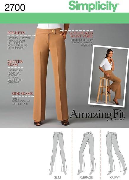 Simplicity 2700 Patrones De Costura Para Pantalones De Vestir De Mujer Tallas 34 A 42 Amazon Es Hogar