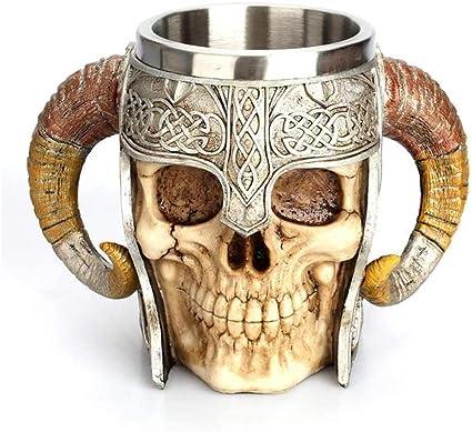 EzzySo Vikingo Taza, Taza del cráneo Realista, Acero ...