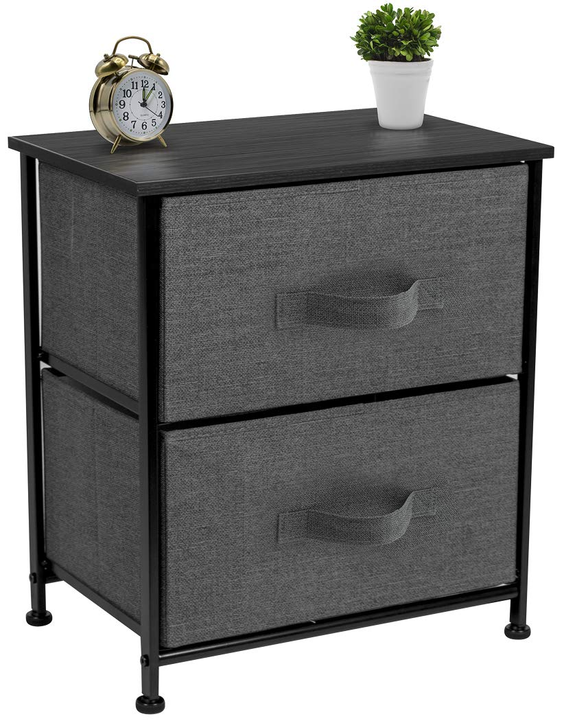 Sorbus Nightstand with 2 Drawers - Bedside Furniture & Accent End Table Chest for Home, Bedroom Accessories, Office, College Dorm, Steel Frame, Wood Top, Easy Pull Fabric Bins (Black/Charcoal) by Sorbus