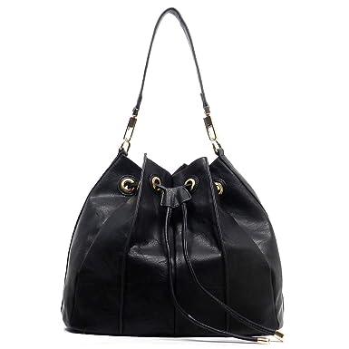b578fc73a761 Handbag Republic Bucket Drawstring Hobo w Pull-out Crossbody (Black)   Clothing