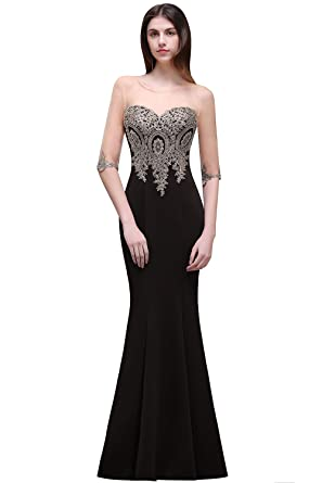 Misshow Womens Gold Lace Mermaid Evening Dresses Formal Long Prom