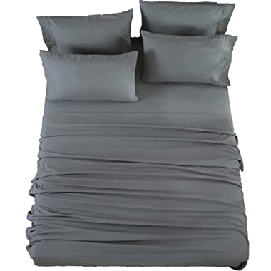Bed Sheets Set King Size Sheets Microfiber Super Soft 1800 Thread Count Luxury Egyptian Sheets 16-Inch Deep Pocket Wrinkle Fade and Hypoallergenic - 6 Piece (Dark Grey) - Sonoro Kate