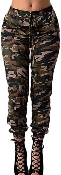 Bolawoo Pantalones Mujer Cintura Alta Pantalon Militar Vintage Hippies Moda Casual Pantalones Camuflaje Pantalones Deporte Amazon Es Ropa Y Accesorios