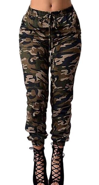 9eacaae957 Targogo Pantalones Mujer Cintura Alta Pantalon Militar Vintage Hippies Moda  Ropa Dama Moderno Casual Pantalones Camuflaje Pantalones Deporte   Amazon.es  ...