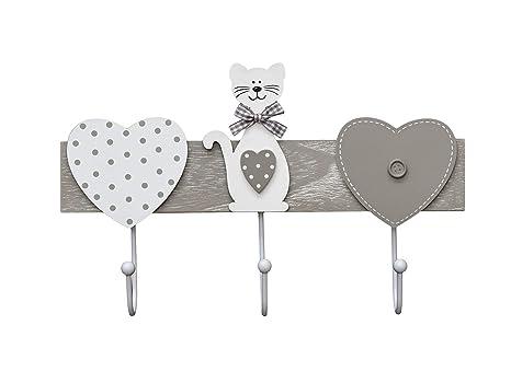 Perchero de pared colgador de pared 3 tres ganchos para pared o puerta, madera original diseño de gato y corazón en color gris y blanco Coat Hooks ...