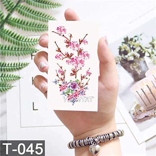 adgkitb 5pcs Flor de Loto Tatuaje Temporal Hoja Colorida Falso ...