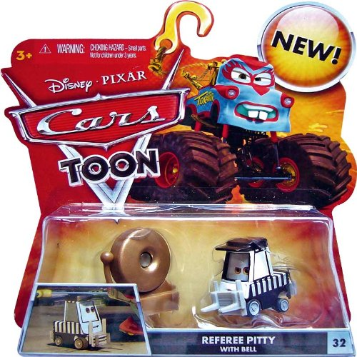 REFEREE PITTY WITH BELL #32 Disney / Pixar CARS 1:55 Scale MONSTER TRUCK MATER Cars Toon Die-Cast Vehicle