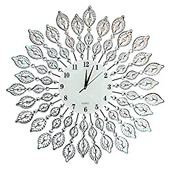 Lulu Decor, 25 Crystal Leaf Metal Wall Clock, 9 White Glass Dial with Arabic Numerals, Decorative Clock for Living Room, Bedroom, Office Space