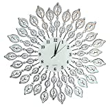 "Cheap LuLu Decor, 25"" Crystal Leaf Metal Wall Clock, 9"" White Glass Dial with Arabic Numerals, Decorative Clock for Living Room, Bedroom, Office Space"